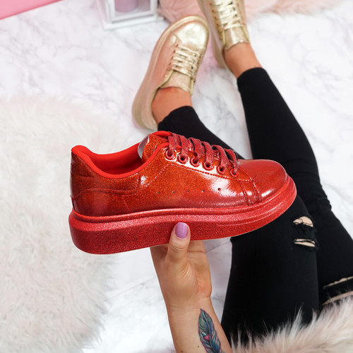 womens red glitter lace-up platform trainers sneakers size uk 3 4 5 6 7 8