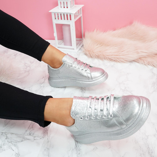 womens silver glitter lace-up platform trainers sneakers size uk 3 4 5 6 7 8