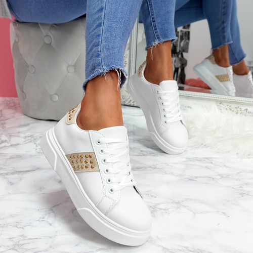 womens white beige lace-up platform trainers sneakers with studs and snake pattern size uk 3 4 5 6 7 8