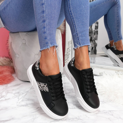 womens black lace-up platform trainers sneakers with studs and snake pattern size uk 3 4 5 6 7 8