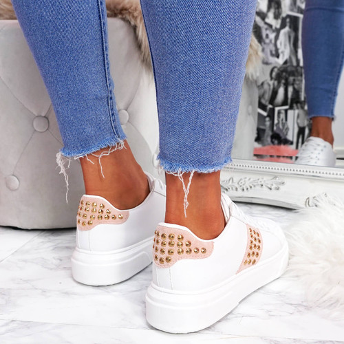 womens white pink lace-up platform trainers sneakers with studs and snake pattern size uk 3 4 5 6 7 8