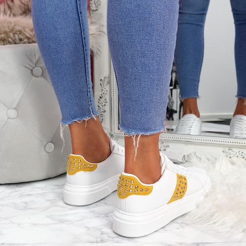 womens white yellow lace-up platform trainers sneakers with studs and snake pattern size uk 3 4 5 6 7 8