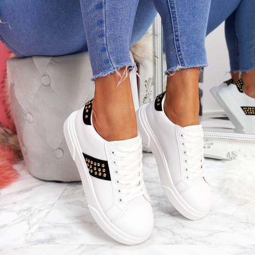 womens white black lace-up platform trainers sneakers with studs and snake pattern size uk 3 4 5 6 7 8