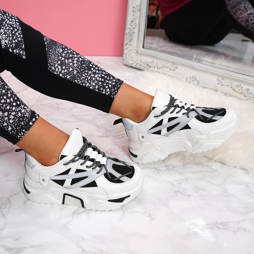 womens white black lace-up chunky trainers sneakers size uk 3 4 5 6 7 8