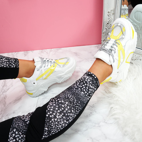 womens white yellow lace-up chunky trainers sneakers size uk 3 4 5 6 7 8