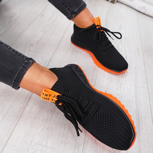 womens black orange lace-up running trainers sneakers mesh size uk 3 4 5 6 7 8