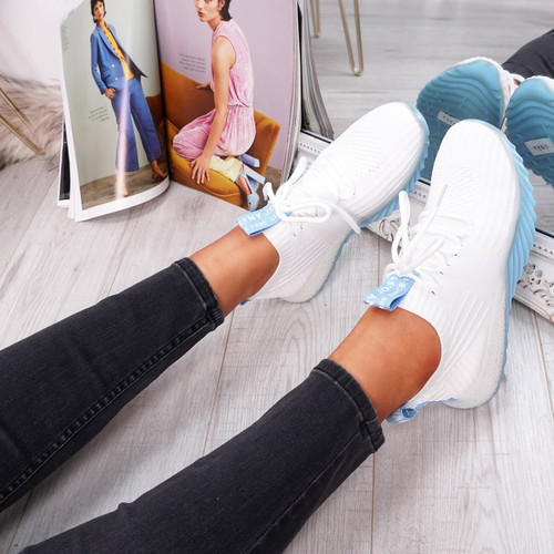 womens white blue lace-up running trainers sneakers mesh size uk 3 4 5 6 7 8