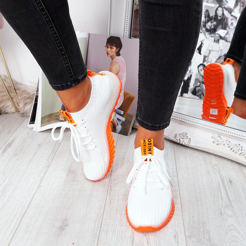 womens white orange lace-up running trainers sneakers mesh size uk 3 4 5 6 7 8
