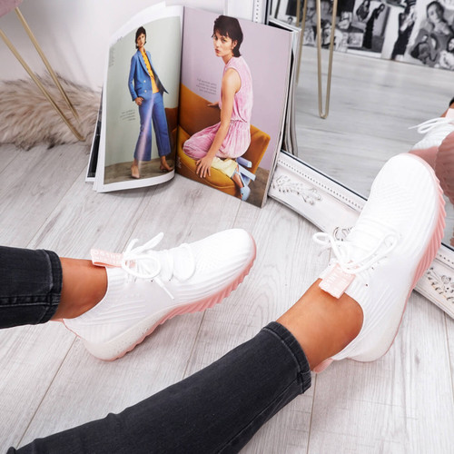womens white pink lace-up running trainers sneakers mesh size uk 3 4 5 6 7 8