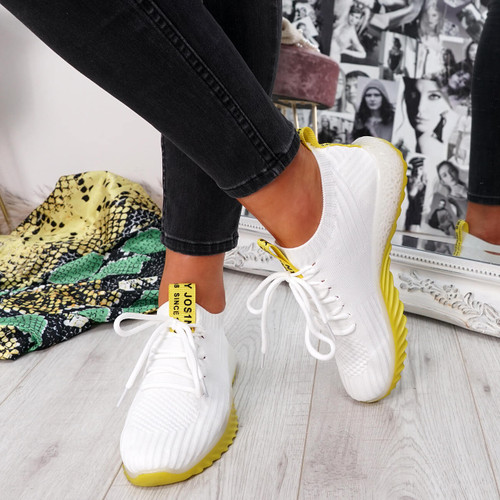womens white yellow lace-up running trainers sneakers mesh size uk 3 4 5 6 7 8