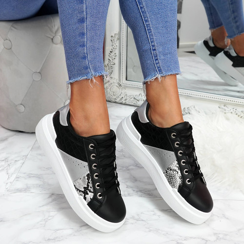 womens white black lace-up trainers sneakers snake pattern size uk 3 4 5 6 7 8