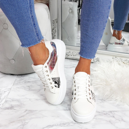 womens white silver lace-up trainers sneakers snake pattern size uk 3 4 5 6 7 8