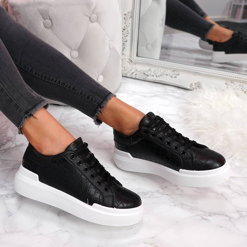womens black lace-up trainers sneakers croc pattern size uk 3 4 5 6 7 8