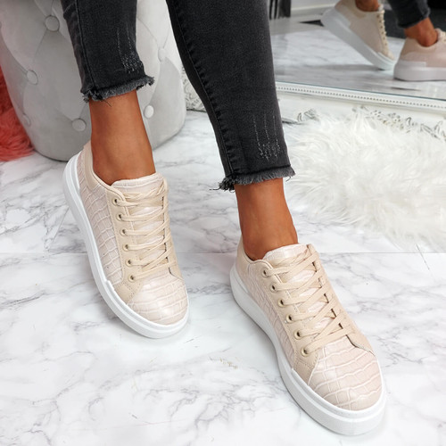 womens beige lace-up trainers sneakers croc pattern size uk 3 4 5 6 7 8
