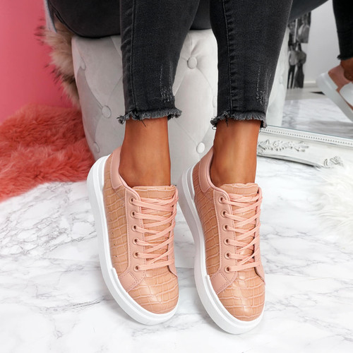 womens pink lace-up trainers sneakers croc pattern size uk 3 4 5 6 7 8