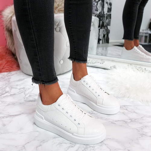 womens white lace-up trainers sneakers croc pattern size uk 3 4 5 6 7 8