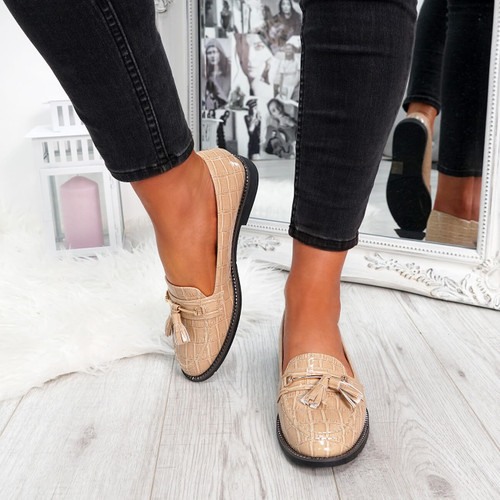 womens beige croc pattern fringes ballerinas size uk 3 4 5 6 7 8