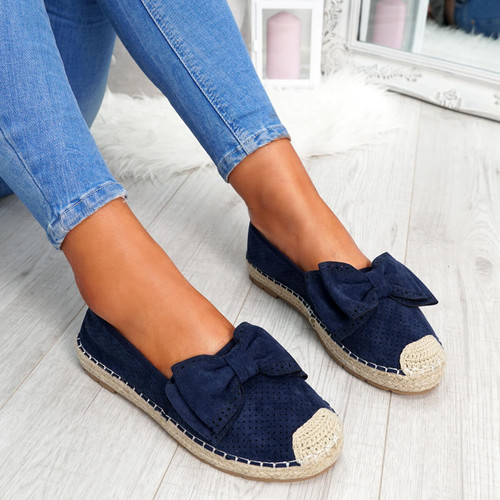 womens blue bow espadrille ballerinas size uk 3 4 5 6 7 8