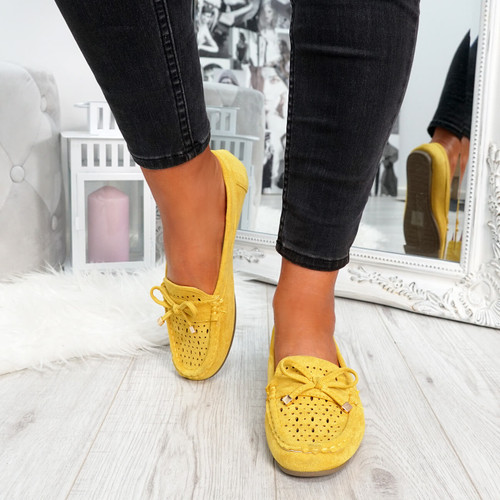 womens yellow front bow ballerinas size uk 3 4 5 6 7 8