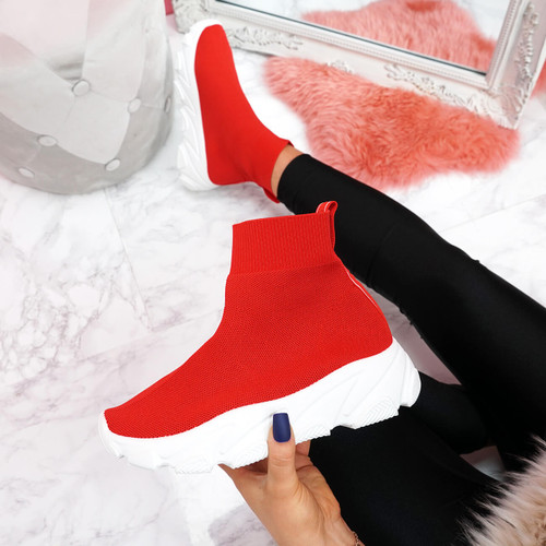 womens red and white sock sneakers trainers chunky sole size uk 3 4 5 6 7 8