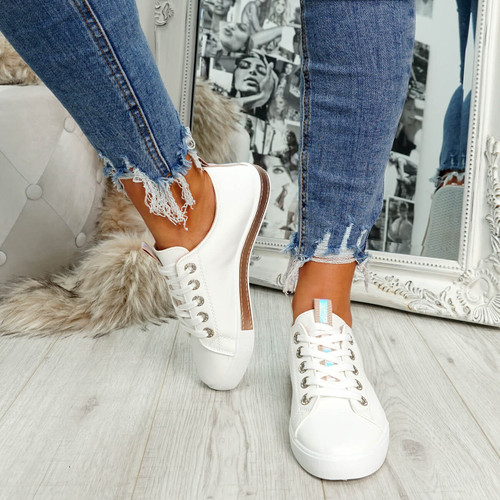 womens champagne lace-up plimsolls trainers comfy sole size uk 3 4 5 6 7 8