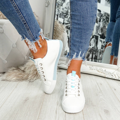 womens light blue lace-up plimsolls trainers comfy sole size uk 3 4 5 6 7 8