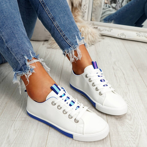 womens navy lace-up plimsolls trainers comfy sole size uk 3 4 5 6 7 8