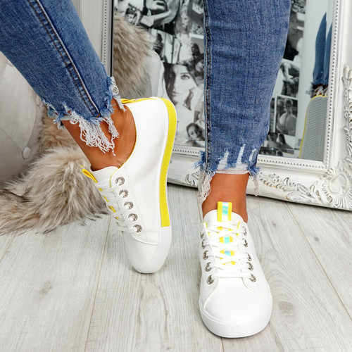 womens yellow lace-up plimsolls trainers comfy sole size uk 3 4 5 6 7 8
