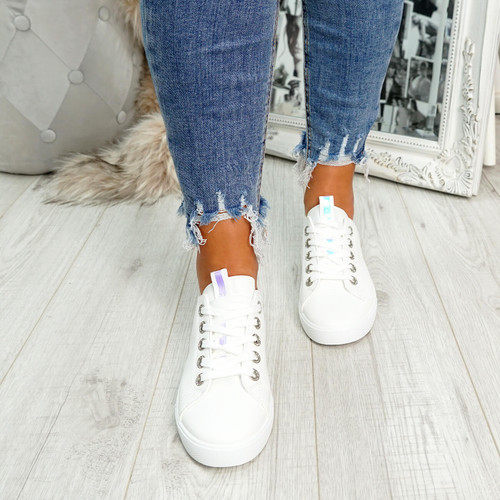 womens white lace-up plimsolls trainers comfy sole size uk 3 4 5 6 7 8