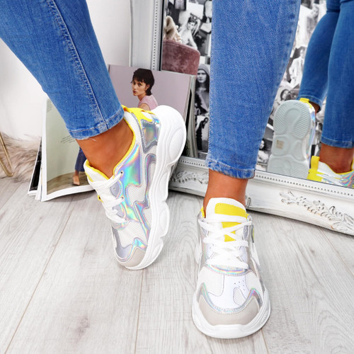 womens shiny silver yellow lace-up trainers chunky sole size uk 3 4 5 6 7 8