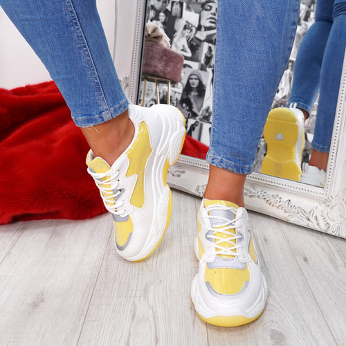 womens yellow and white lace-up trainers chunky sole sequins size uk 3 4 5 6 7 8
