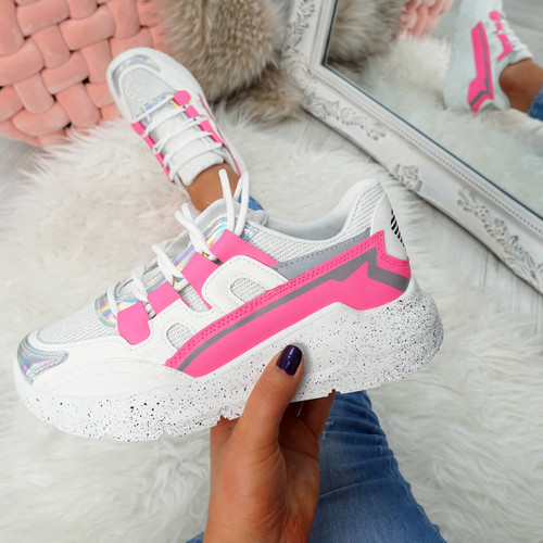 womens pink and white lace-up trainers chunky sole patent mesh size uk 3 4 5 6 7 8
