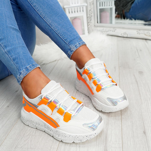 womens orange and white lace-up trainers chunky sole patent mesh size uk 3 4 5 6 7 8