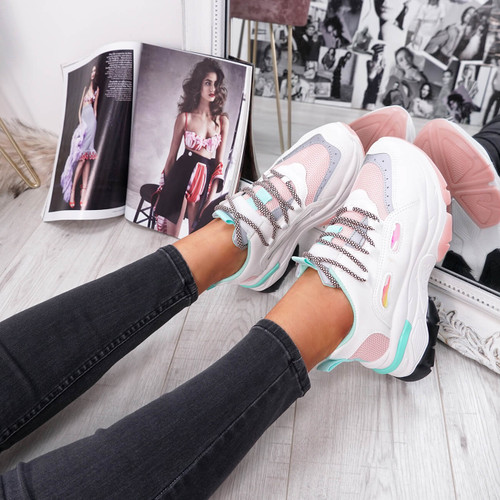 womens pink turquoise and white lace-up trainers chunky sole size uk 3 4 5 6 7 8