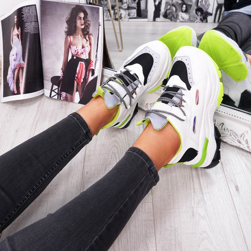 womens black green and white lace-up trainers chunky sole size uk 3 4 5 6 7 8