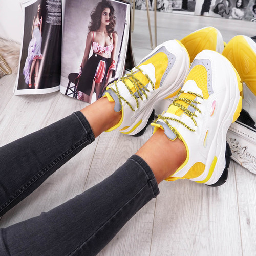 womens yellow and white lace-up trainers chunky sole size uk 3 4 5 6 7 8