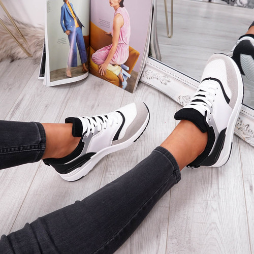womens black and white lace-up trainers chunky sole size uk 3 4 5 6 7 8
