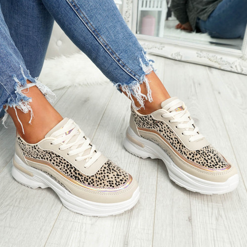 womens beige and white lace-up trainers chunky sole animal print size uk 3 4 5 6 7 8