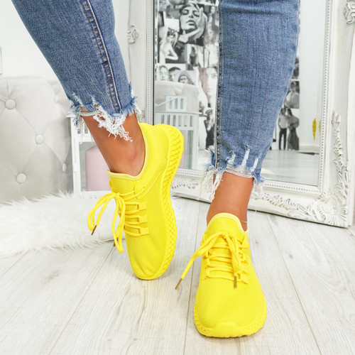 womens yellow lace-up trainers chunky sole mesh style size uk 3 4 5 6 7 8
