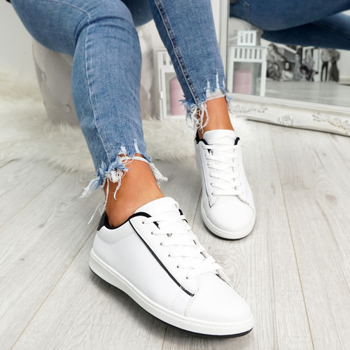 womens black and white lace-up trainers size uk 3 4 5 6 7 8
