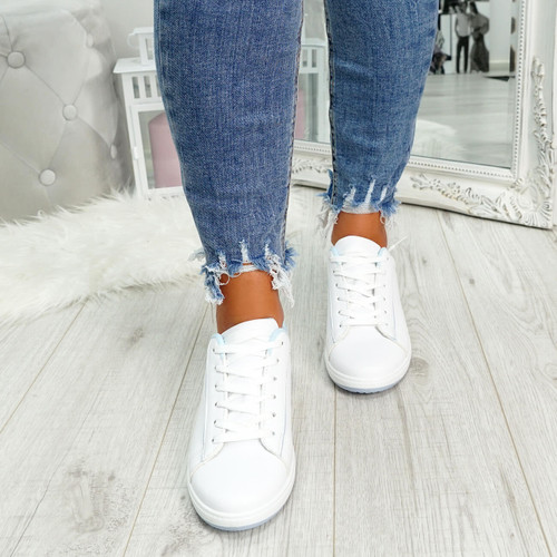 womens light blue and white lace-up trainers size uk 3 4 5 6 7 8