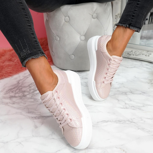 womens pink animal snake pattern lace-up platform trainers size uk 3 4 5 6 7 8