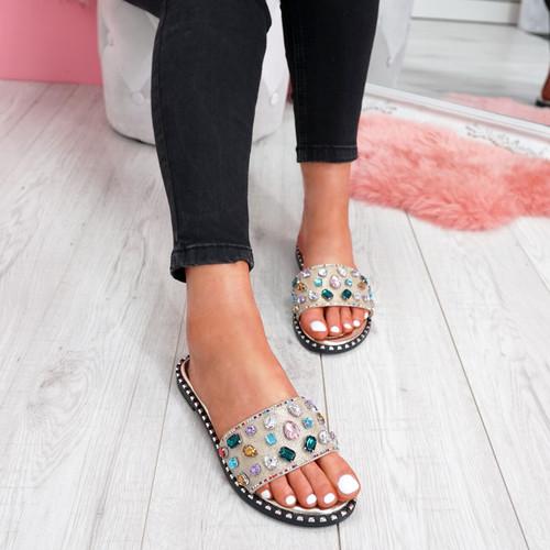 womens gold colorful rhinestones studs slip on flat shiny sandals size uk 3 4 5 6 7 8
