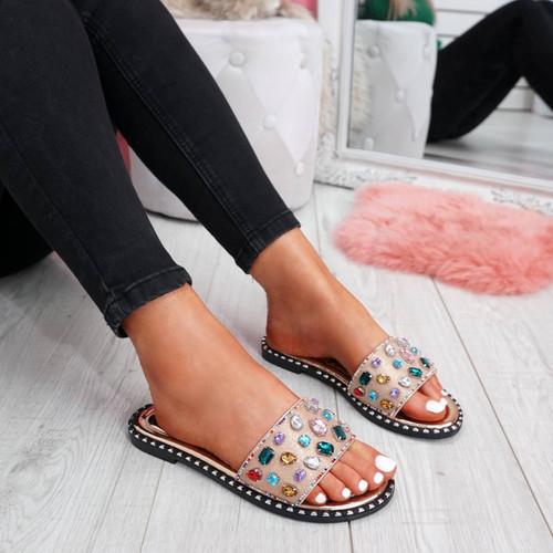 womens rose gold colorful rhinestones studs slip on flat shiny sandals size uk 3 4 5 6 7 8