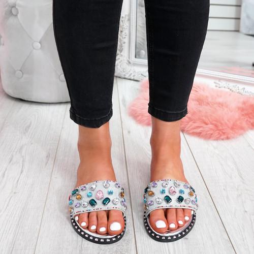 womens silver colorful rhinestones studs slip on flat shiny sandals size uk 3 4 5 6 7 8