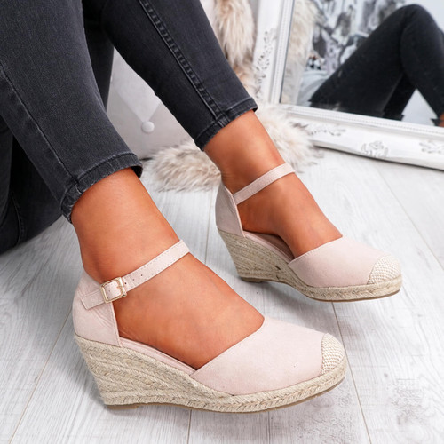 womens nude rounded toe espadrille style wedge pumps ankle strap size uk 3 4 5 6 7 8