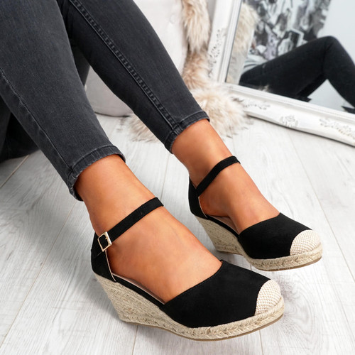 womens black rounded toe espadrille style wedge pumps ankle strap size uk 3 4 5 6 7 8