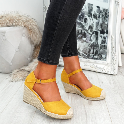 womens yellow rounded toe espadrille style wedge pumps ankle strap size uk 3 4 5 6 7 8