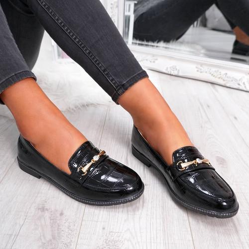 womens black slip-on diamante studs animal croc pattern ballerinas size uk 3 4 5 6 7 8