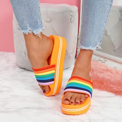 Jubby Orange Flatform Sandals
